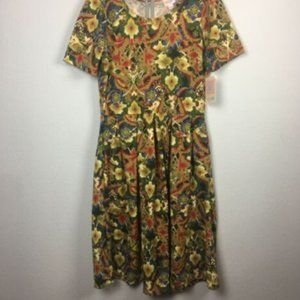 LuLaRoe Amelia Dress Multicolor Floral L NWT